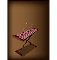 A retro xylophone on dark brown background vector