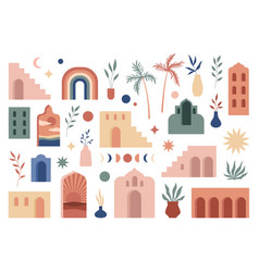 Abstract boho architecture buildings geometry vector