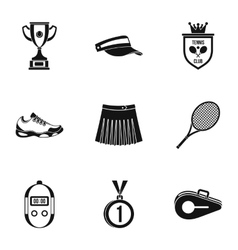 Active tennis icons set simple style vector