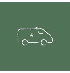 Ambulance car icon drawn in chalk vector