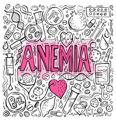 Anemia doodles background vector