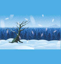 background of landscape with winter forest vector image