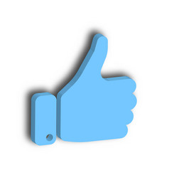 Blue hand with thumb up gesture like agree vector