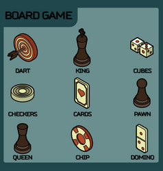 Board game color outline isometric icons vector