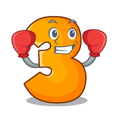 Boxing character paper cut number three letter vector