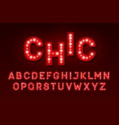 Broadway style retro light bulb font vector