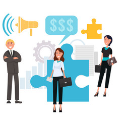 businessman and businesswoman with puzzle vector image