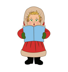 cartoon woman christmas song winter clothes vector image