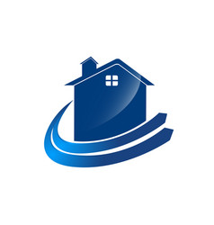 check home logo template with blue color arrow vector image