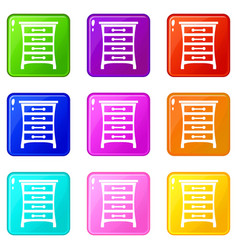 chest of drawers set 9 vector image