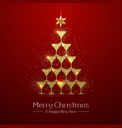 Christmas poster with golden champagne glass vector