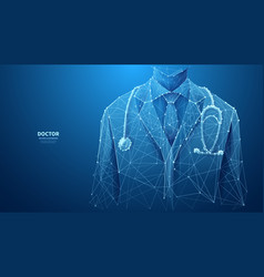 Closeup doctor on blue background vector