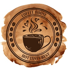 Coffee house stamp on a watercolor background vector