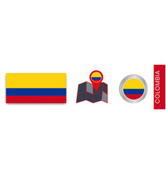 Collection national flags colombia isolated vector