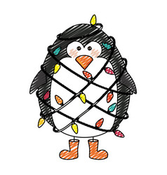 Color crayon stripe cartoon of penguin with boots vector