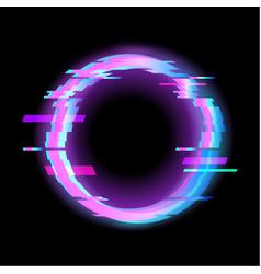 colorful glitch circle geometric shape frame vector image