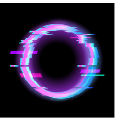 colorful glitch circle geometric shape frame with vector image