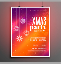 colorful merry christmas party celebration flyer vector image