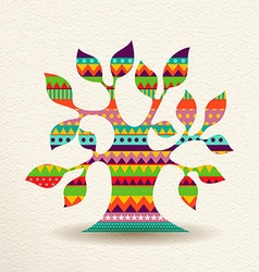 Colorful Tree design in fun geometric shape style vector