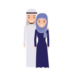 cute arab couple cartoon vector image