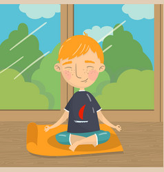cute boy sitting in lotus position and meditating vector image