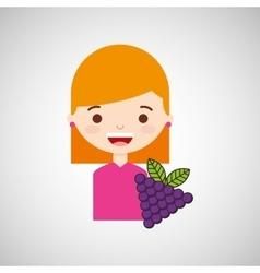 Cute girl cartoon graps health graphic vector
