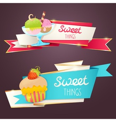 Delicious set glittering and sparkling banners vector