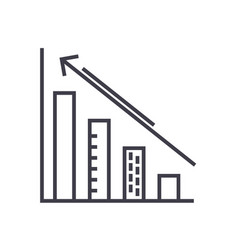 diagram down and up charts line icon vector image