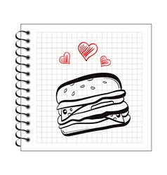 doodle burger on notepad paper vector image