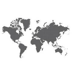 Dotted world map of square dots on white vector