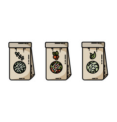 dried herbs tea craft bags flat icons vector image