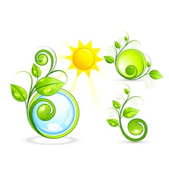 Eco buttons and sun vector