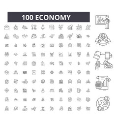 economy editable line icons 100 set vector image