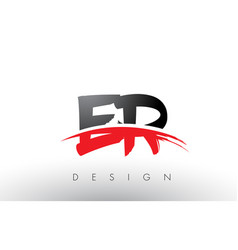 er e r brush logo letters with red and black vector image