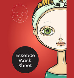 Essence mask sheet package design cartoon beauty vector