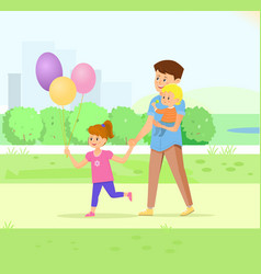 Father walking with his children in park vector