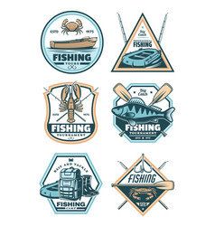 fishing vintage badge with fish rod and hook vector image