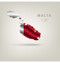 Flag malta as a country with a shadow vector