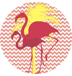 Flamingos and palm tree on a pink background vector