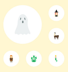 Flat icons huge man snake halloween and other vector