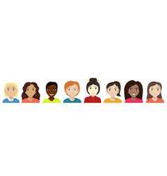 Flat of women of different nationalities diversity vector