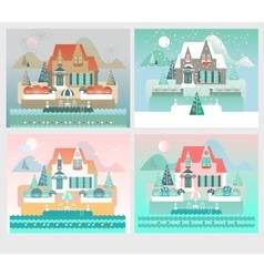 Four Seasons Designs with Island House vector image