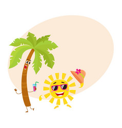 funny palm tree and sun characters travelling vector image