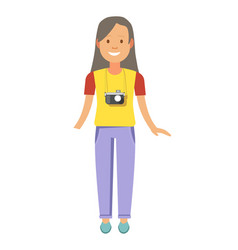 Girl with long hair and camera that hangs on neck vector