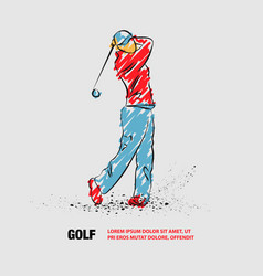golf player with a stick outline player vector image