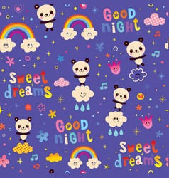 good night sweet dreams kids seamless pattern vector image