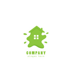 green eco house paint logo vector image