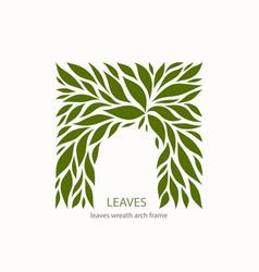 Green leaflets logo abstract design arch vector