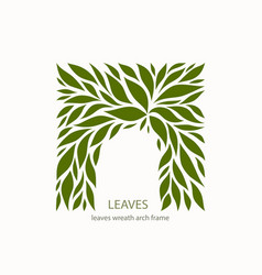 Green leaflets logo abstract design arch with vector
