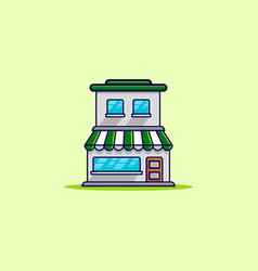 green two floors store building vector image